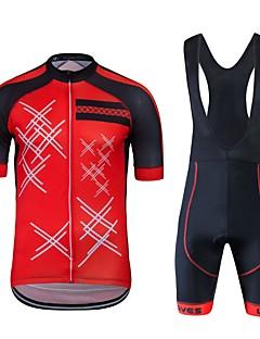 billiga Cykling-Wisdom Leaves Kortärmad Cykeltröja med Haklapp-shorts - Röd Cykel Klädesset, Snabb tork