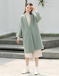 Feminino Padrão Carregam,Feriado Casual Simples Vintage Sólido Colarinho de Camisa Manga Longa Poliéster Inverno Grossa strenchy