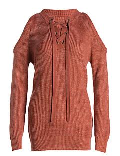 tanie Swetry damskie-Damskie Z odsłoniętymi ramionami Długi Pulower - Kokarda, Jendolity kolor Długi rękaw