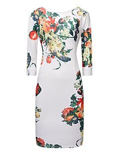 Для женщин Для вечеринок Секси Оболочка Платье Цветочный принт,V-образный вырез До колена Половина рукава Полиэстер Спандекс Весна Лето