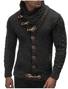お買い得  メンズセーター&カーデガン-男性用 週末 長袖 タートルネック スリム カーディガン - ソリッド タートルネック