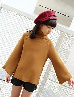 billige Sweaters og cardigans til piger-Pige Trøje og cardigan Ensfarvet, Bomuld Efterår Alle årstider Sødt Brun Kakifarvet