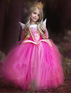 billige Halloweenkostymer-Prinsesse Cinderella Eventyr Kjoler Barne Jul Maskerade Bursdag Festival / høytid Halloween-kostymer Blå Rosa Fargeblokk Kjoler Mesh