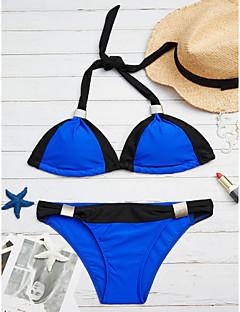 billige Bikinier og damemote 2017-Dame Store størrelser Grime Trekant Bikini Cheeky Fargeblokk Svart og hvit / Sporty stil / Sexy