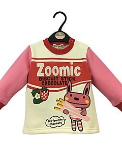 billige Hættetrøjer og sweatshirts til piger-Pige Hættetrøje og sweatshirt Tegneserie, Bomuld Vinter Forår Langærmet Sødt Tegneserie Lyserød