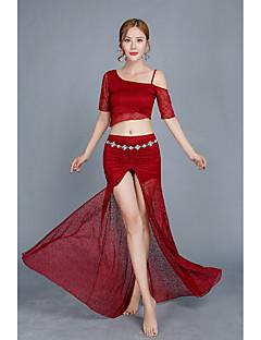 Χαμηλού Κόστους Χορός της κοιλιάς-Χορός της κοιλιάς Σύνολα Γυναικεία Επίδοση Δαντέλα Τούλι Δαντέλα Μισό μανίκι Χαμηλή Μέση Φούστες Κορυφή