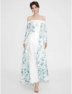 hesapli TS Couture®-A-Şekilli Düşük Omuz Yere Kadar Saten Nakış Pileler ile Resmi Akşam Elbise tarafından TS Couture®