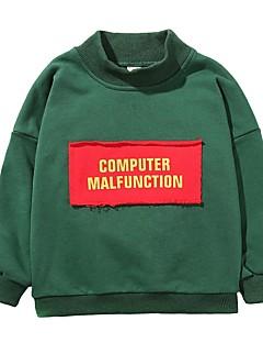 billige Hættetrøjer og sweatshirts til drenge-Drenge Hættetrøje og sweatshirt Ensfarvet Bogstaver, Bomuld Polyester Forår Efterår Langærmet Simple Aktiv Grøn Gul