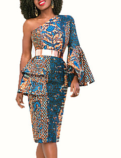cheap Women's Dresses-Women's Party Holiday Vintage Sexy Boho Bodycon Knee-length Dress,Plants Backless Print One Shoulder Long Sleeve Spring Fall High Waist