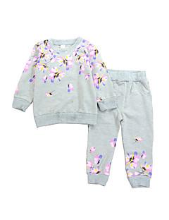 billige Tøjsæt til piger-Pige Tøjsæt Daglig Ensfarvet Blomstret, Modal Forår Efterår Langærmet Seperate Kroppe Afslappet Rosa Lysegrå Lyseblå