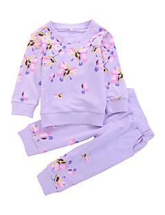 tanie Odzież dla dziewczynek-Komplet odzieży Modalny Dla dziewczynek Codzienny Jendolity kolor Kwiaty Wiosna Jesień Długi rękaw Oddziel wyborcze Na co dzień Fuchsia
