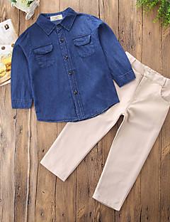 billige Tøjsæt til drenge-Drenge Tøjsæt Daglig I-byen-tøj Ensfarvet, Bomuld Polyester Forår Efterår Langærmet Afslappet Kineseri Punk & gotisk Blå