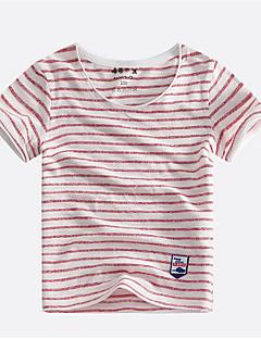 billige Overdele til drenge-Drenge T-shirt Stribet, Bomuld Sommer Kortærmet Simple Sort Orange Rød Navyblå Rosa