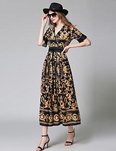 cheap Maxi Dresses-Women's Shift Dress - Floral Geometric, Fur Trim Maxi V Neck