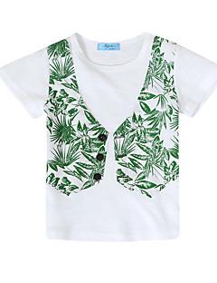 お買い得  男児 トップス-男の子 パッチワーク コットン Tシャツ 夏 長袖 ヴィンテージ ホワイト ネイビーブルー
