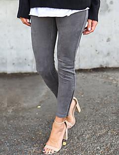 baratos Leggings para Mulheres-Mulheres Diário Para Noite Cor Única Legging - Sólido Cintura Média