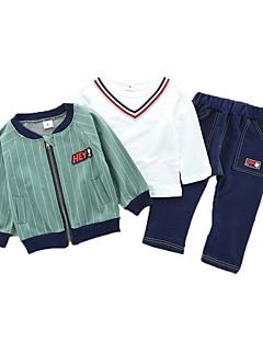 billige Tøjsæt til drenge-Drenge Tøjsæt Daglig Sport Stribet, Bomuld Forår Efterår Langærmet Afslappet Aktiv Brun Grøn Navyblå
