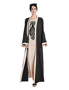 baratos Costumes étnicas e Cultural-Vestido árabe Abaya Vestido Kaftan Mulheres Fashion Festival / Celebração Roupa Bege / Roxo Estampado