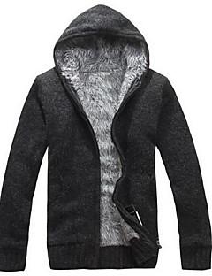 tanie Męskie swetry i swetry rozpinane-Męskie Prosty Kaptur Rozpinany - Czysta Kolor, Jendolity kolor Długi rękaw