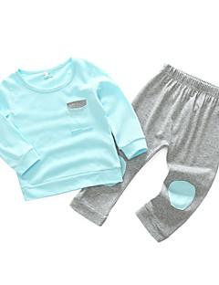 billige Sett med babyklær-Baby Pige Tøjsæt Daglig Ensfarvet, Bomuld Forår Langærmet Simple Afslappet Lyserød Lyseblå