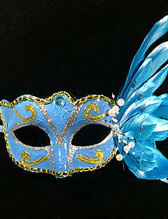 cheap Halloween Masks-Classic Masquerade Mask Rose Red Blue White Pink Plastics Feather Cosplay Accessories Halloween Masquerade