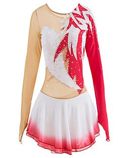 Eiskunstlaufkleid Damen Mädchen Eislaufen Kleider Rot Elasthan Strass Hochelastisch Leistung Eiskunstlaufkleidung Handgemacht Mit Steinen