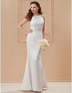 billiga Plusstorlek brudklänningar-Trumpet / sjöjungfru Prydd med juveler Golvlång Satäng Bröllopsklänningar tillverkade med Sidodraperad av LAN TING BRIDE®