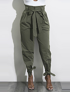 cheap Women's Pants-Women's Chinos Pants - Solid, Bow Ruched High Rise