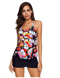 billige Bikinier og damemote 2017-Dame Blomstret Store størrelser Bikinikjole Badetøy Sexy Åpen rygg Med stropper Regnbue