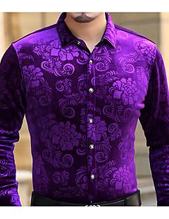 billige Herremote og klær-Bomull Skjorte Trykt mønster Chinoiserie Herre
