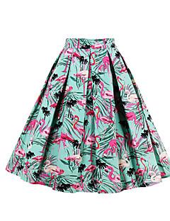 저렴한 -여성 캐쥬얼 활동적 무릎 위 스커트,A 라인 일상 데이트 면 사계절 플로럴 프린트 애니멀 프린트