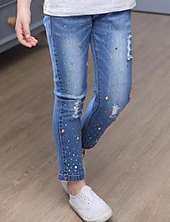 billige Bukser og leggings til piger-Pige Jeans Daglig Ensfarvet, Kaninpels Bomuld Forår Efterår Simple Blå