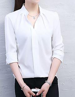 cheap Women's Tops-Women's Cotton Blouse - Solid Shirt Collar