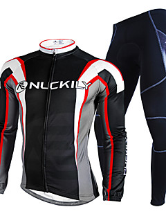 Nuckily Men s Long Sleeve Cycling Jersey with Tights - Black Geometic Bike  Clothing Suit Waterproof Thermal   Warm Reflective Strips Winter Sports  Polyester ... 1df02ddb6