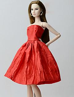 billiga Cosplay och kostymer-Klänningar Klänningar För Barbiedocka Röd Polyester/Bomull Blandning Klänning För Flicka Dockleksak