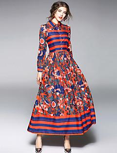 Χαμηλού Κόστους YHSP-Γυναικεία Εξόδου Κομψό στυλ street / Εκλεπτυσμένο Θήκη / Swing Φόρεμα - Φλοράλ / Συνδυασμός Χρωμάτων, Σουρωτά / Στάμπα Μίντι Κολάρο Πουκαμίσου
