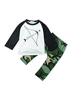 billige Tøjsæt til drenge-Drenge Tøjsæt Daglig Trykt mønster Patchwork, Bomuld Forår Alle årstider Langærmet Afslappet Aktiv Army Grøn