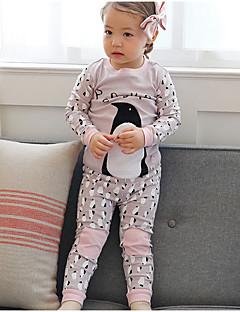 billige Undertøj og sokker til piger-Pige Nattøj Bomuld Langærmet Simple Grå