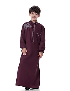cheap Boys' Jackets & Coats-Boys' Party Daily Solid Embroidered Suit & Blazer, 100% Polyester Long Sleeves Casual Abaya Silver Camel Gray Wine