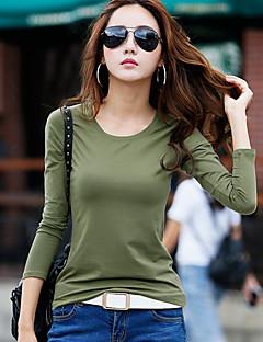 billige Overdele til damer-Dame-Ensfarvet Basale T-shirt