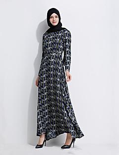 baratos Costumes étnicas e Cultural-Moda Jalabiya Vestido Kaftan Abaya Vestido árabe Mulheres Festival / Celebração Trajes da Noite das Bruxas Verde Estampado