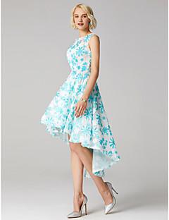 billiga Balklänningar-Balklänning Prydd med juveler Asymmetrisk Blomsterspets Cocktailfest / Bal Klänning med av TS Couture®