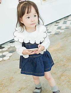 billige Babyoverdele-Baby Pige Skjorte Multi Farve, Bomuld Langærmet Normal Hvid Gul