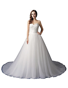 A Line Sweetheart Chapel Train Tulle Wedding Dress With Beading Appliques By