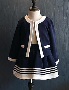 preiswerte -Mädchen Kleidungs Set Alltag Ausgehen Gestreift Patchwork Kunstseide Frühling Herbst Langärmelige Freizeit Street Schick Marineblau