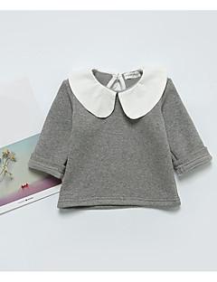 billige Babyoverdele-Baby Pige T-shirt Ensfarvet, Bomuld Langærmet Normal Grøn Lyserød Grå Gul Vin