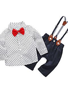 abordables Ensemble de Vêtements du Quotidien-bébé Garçon simple Quotidien Points Polka Manches Longues Coton / Polyester Ensemble de Vêtements Blanc