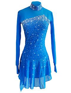 preiswerte Eiskunstlaufkleider-Eiskunstlaufkleid Damen Mädchen Eislaufen Kleider Himmelblau Elasthan Elastisches Garn Dehnbar Eiskunstlaufkleidung Pailletten Langarm