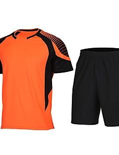 billige Løbetøj-Herre Rund hals Patchwork T-shirt og shorts til løb og jogging - Grøn / Sort, Blå / Hvid, Sort / Orange Sport Shorts / T-Shirt Kortærmet