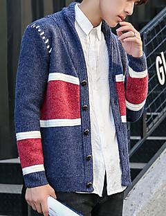 お買い得  メンズセーター&カーデガン-男性用 純色 日常 シンプル カーディガン 半袖 ラウンドネック 春 ポリエステル